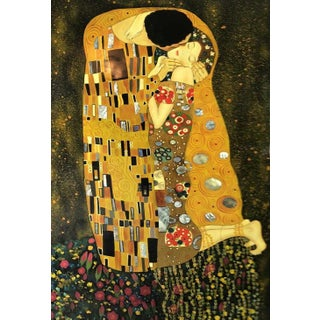 Early 20th Century Antique Kiss Painting After Gustav Klimt For Sale