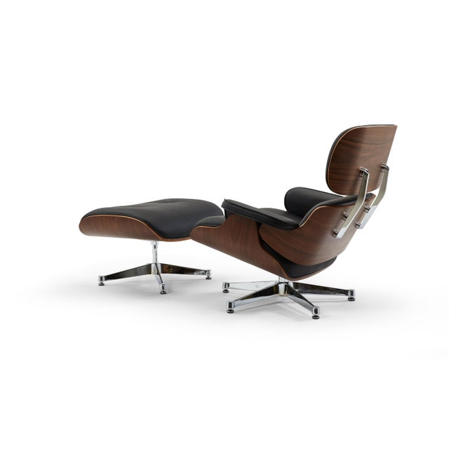 Contemporary Pasargad's Florence Black Leather Lounge Chair & Ottoman For Sale - Image 3 of 10