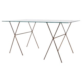 Midcentury Glass Table With Iron X Form Sawhorse Legs For Sale