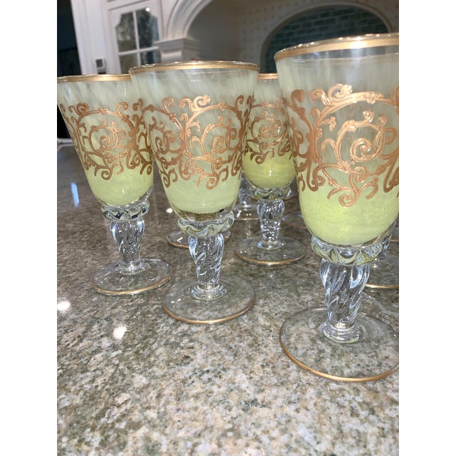 Hand-Blown Murano Chartreuse/Yellow Ombré Wine Glass Goblets - 4 Sets of 4 For Sale In New York - Image 6 of 11