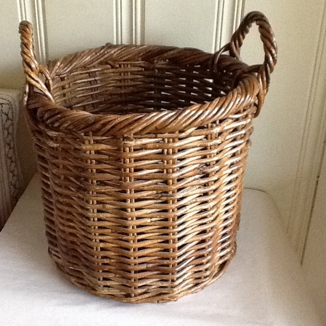 Large Natural Wood Wicker Basket - Image 2 of 6