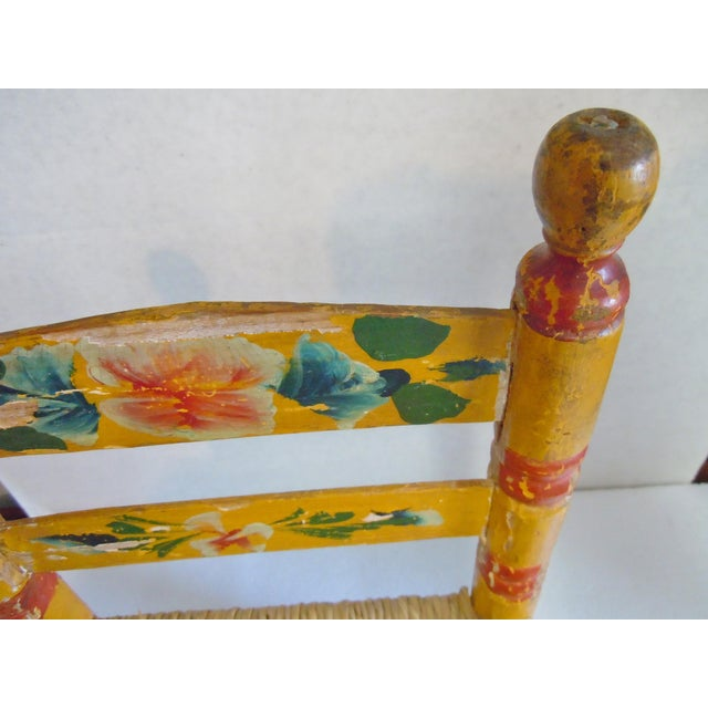 Cottage 1900's Rustic Childs Chair With Rush Seat For Sale - Image 3 of 12