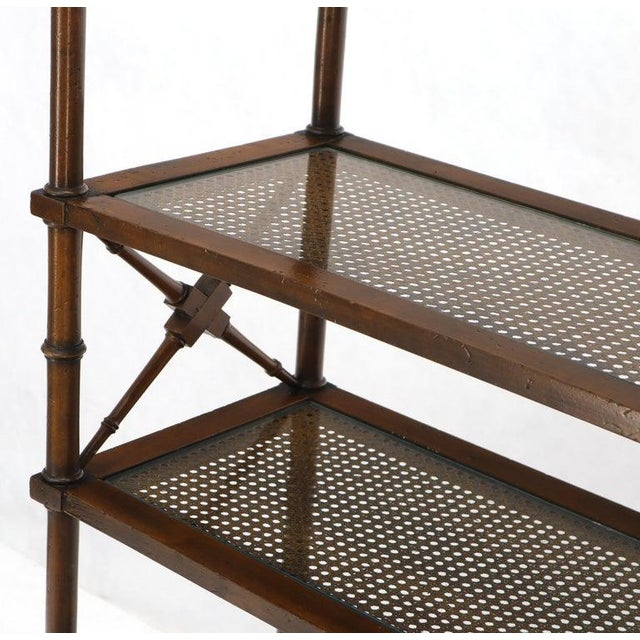 Mid-Century Modern X Stretchers Faux Bamboo Cane and Glass Shelves Étagère Shelves For Sale - Image 3 of 13