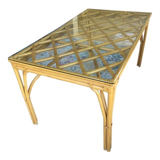 Vintage Hollywood Regency Rattan Bamboo Dining Table For Sale