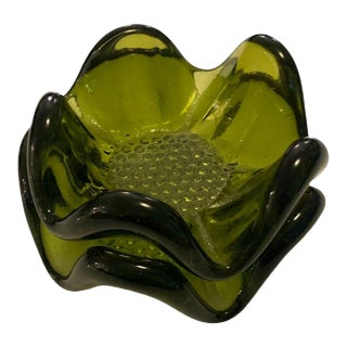 """Vintage Hand Blown Green Glass Stackable Nesting Dishes - 2 Pieces, 5"""" & 3.5"""" For Sale"""