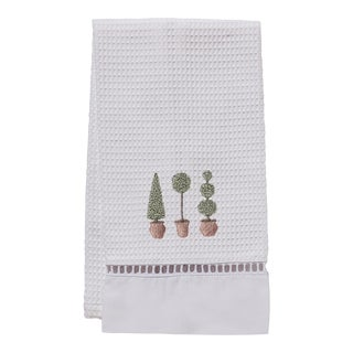 Three Topiary Trees Guest Towel White Waffle Weave, Ladder Lace, Embroidered For Sale