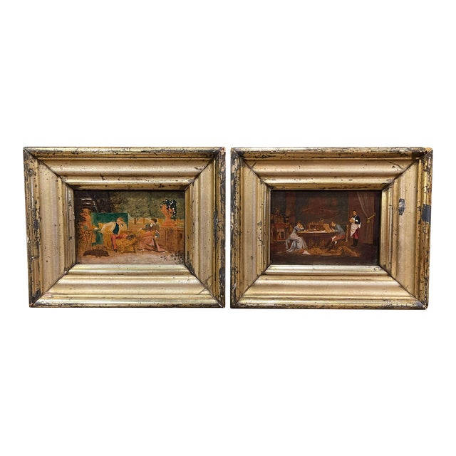 19th Century French Oil on Board Paintings in Carved Gilt Frames - a Pair For Sale