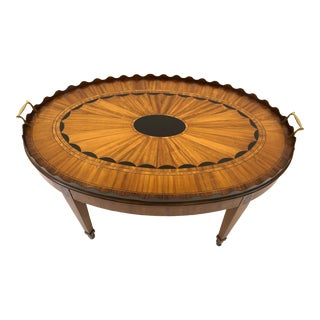 1980s Traditional EJ Victor Oval Satinwood Fan Inlaid Cocktail Table For Sale