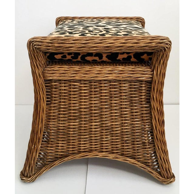 Late 20th Century Sculptural Draped Wicker Bench With Animal Print Cushion For Sale - Image 5 of 9