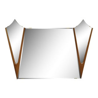 Vintage Mid Century Danish Modern Large Diamond Walnut Triple Mirror 42 X 60