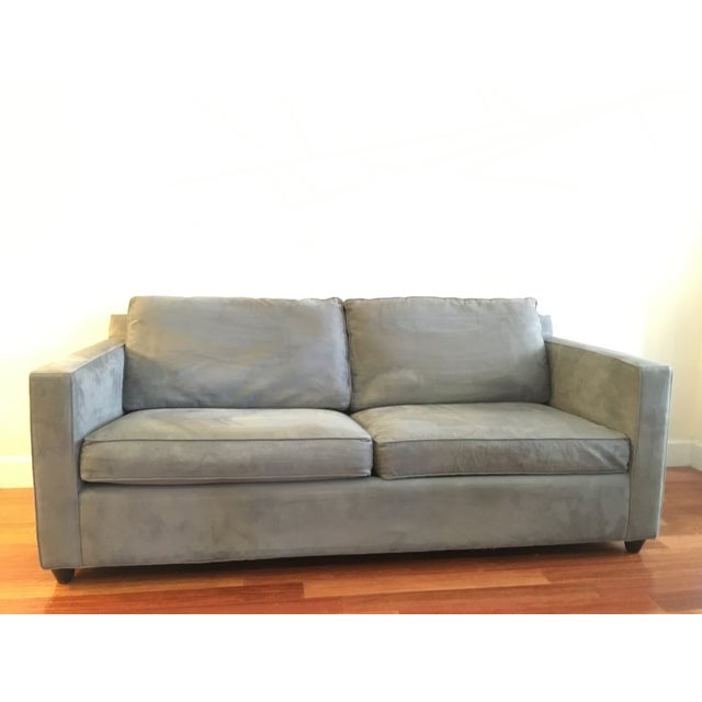 """Crate & Barrel Davis Apartment Sofa in Metal blue. This """"apartment"""" sized sofa is smaller than a standard 3-seater sofa..."""