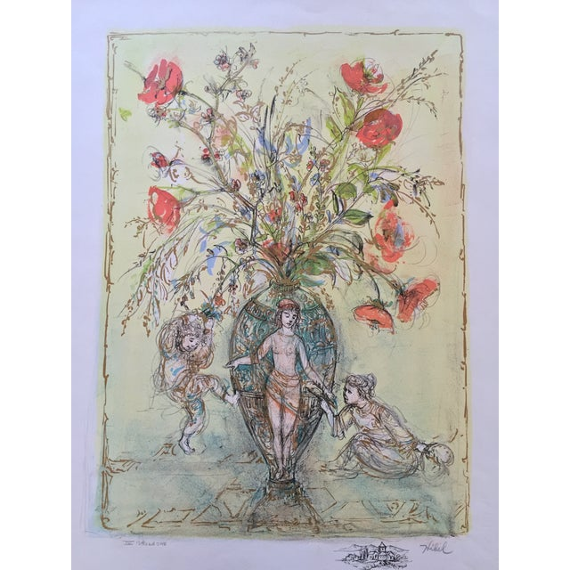 Flowers in Grecian Urn Lithograph Edna Hibel - Image 1 of 7
