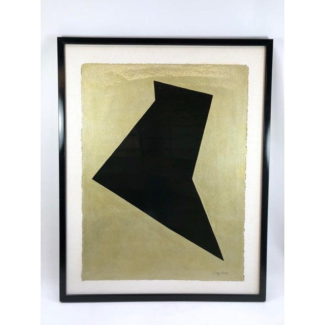 Original Framed Betty Gold Artwork Black Geometric Form Against Metallic Paper Signed For Sale - Image 12 of 12