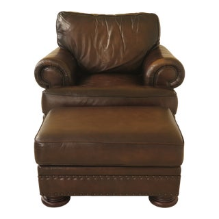 Modern Bernhardt Leather Club Chair & Ottoman For Sale