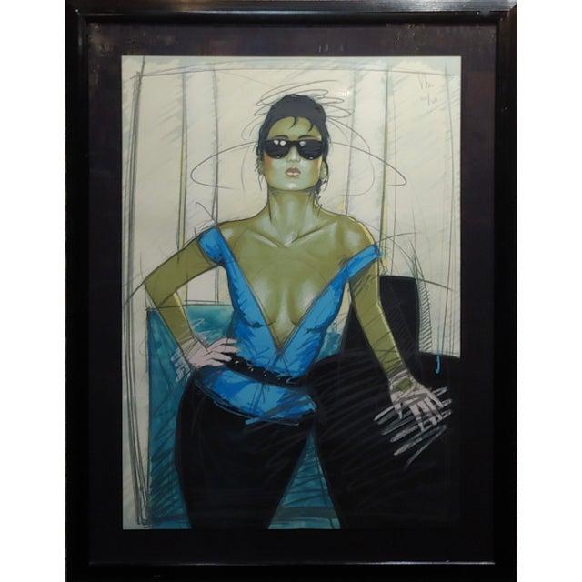 Dennis Mukai - Model w/Black Sunglasses- original 1980s Serigraph -Signed original serigraph on paper professionally...