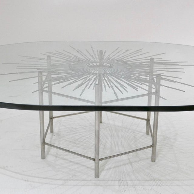 Bespoke Brutalist Welded Steel Sunburst With Thick Oval Glass Top Table For Sale - Image 9 of 11