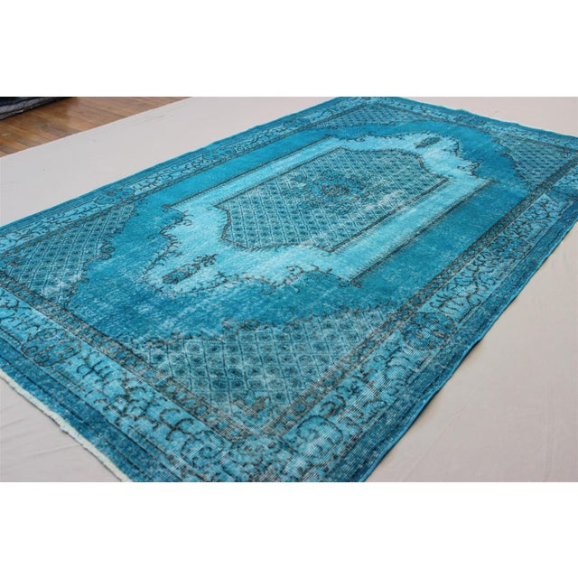 Turkish Over-Dyed Turquoise Rug - 5′5″ × 9′3″ - Image 4 of 11