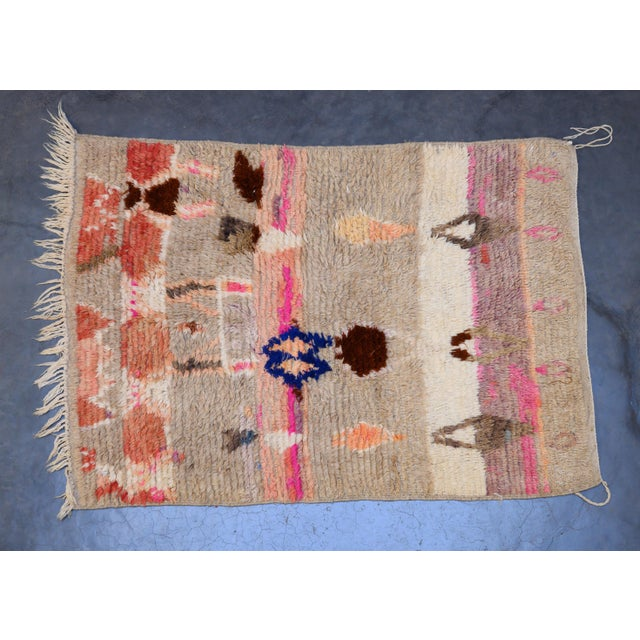 2010s Moroccan Boho Chic Modern Hand Made Wool Rug - 3′7″ × 5′2″ For Sale - Image 5 of 5