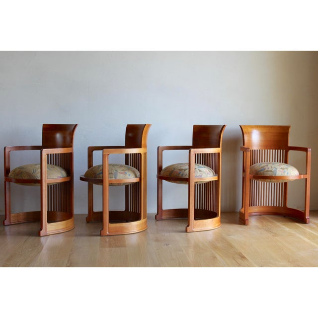 1980s Vintage 1986 Frank Lloyd Wright for Cassina Taliesin 606 Barrel Chairs - Set of 6 For Sale - Image 5 of 13