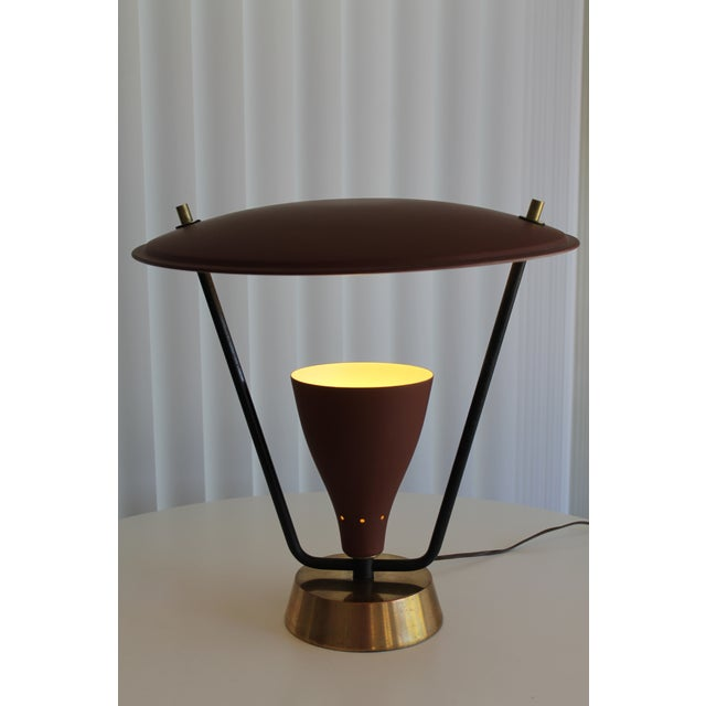 Mid-Century Modern 1950s Burgundy and Gold Saucer Reflector Lamp For Sale - Image 3 of 9