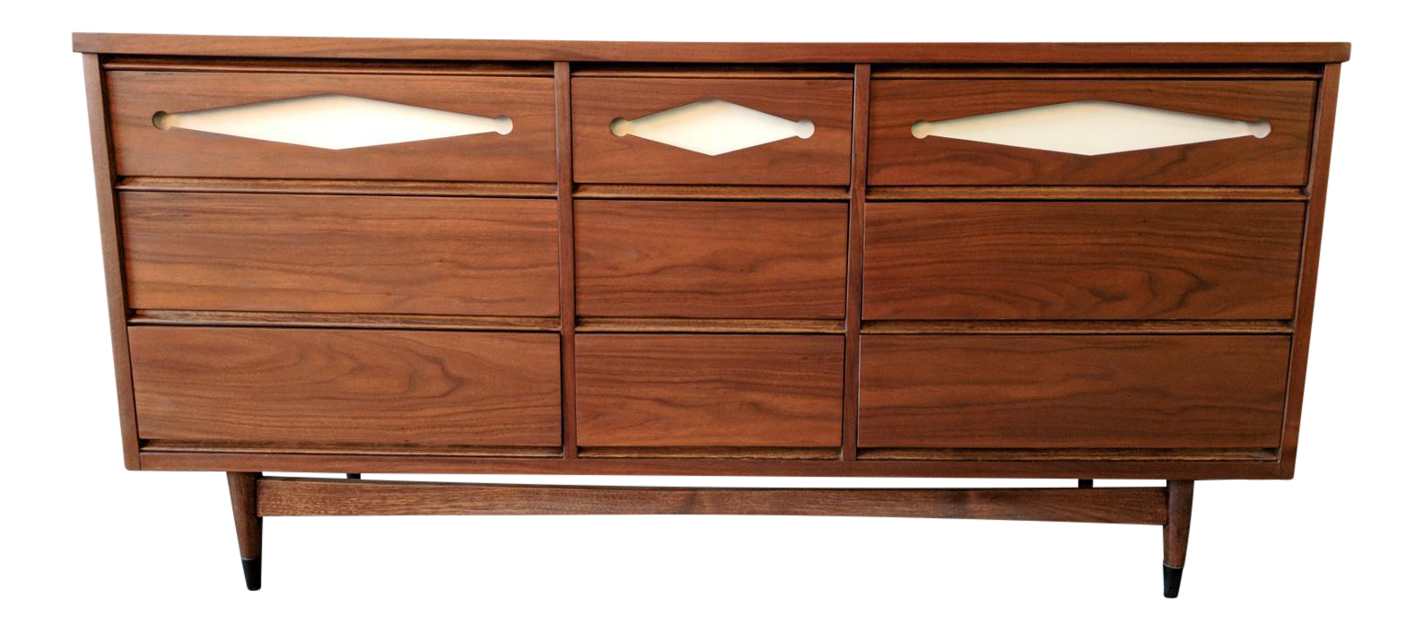Mid Century 9 Drawer Walnut Dresser With Cool Pulls By Bassett Furniture Co.