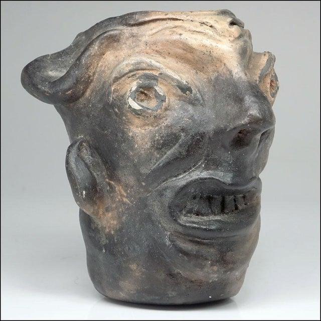 Ceramic Georgia Blizzard Vintage Folk Art Old Devil Pottery Sculpture Face Jug Cup For Sale - Image 7 of 13
