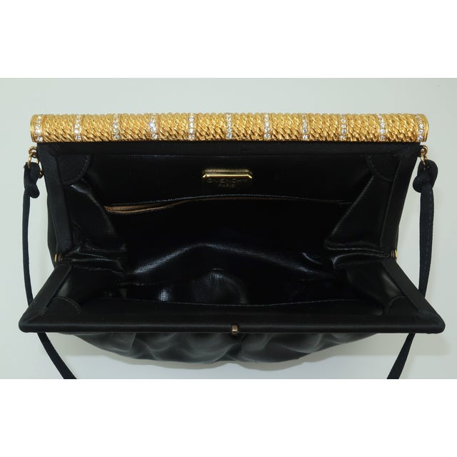C.1980 Givenchy Black Satin Evening Handbag With Rhinestone Closure For Sale - Image 11 of 13