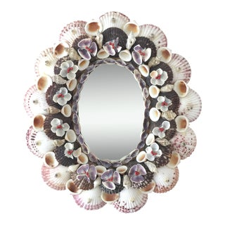 Vintage Round Oval Seashell Mirror For Sale