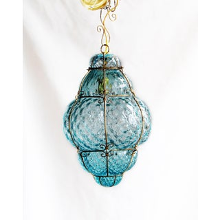"Large 22"" Seguso Murano Blue Bubble Glass Pendant Chandelier Preview"