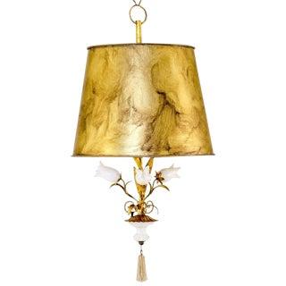 Italian Tole & Alabaster Pendant Lamp For Sale