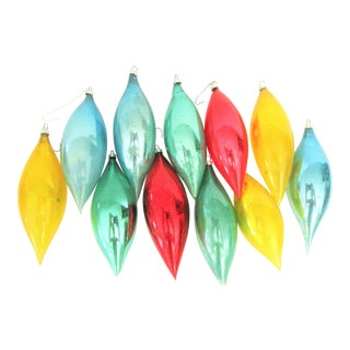 German Hand-Blown Glass Icicle Christmas Ornaments S/11 For Sale