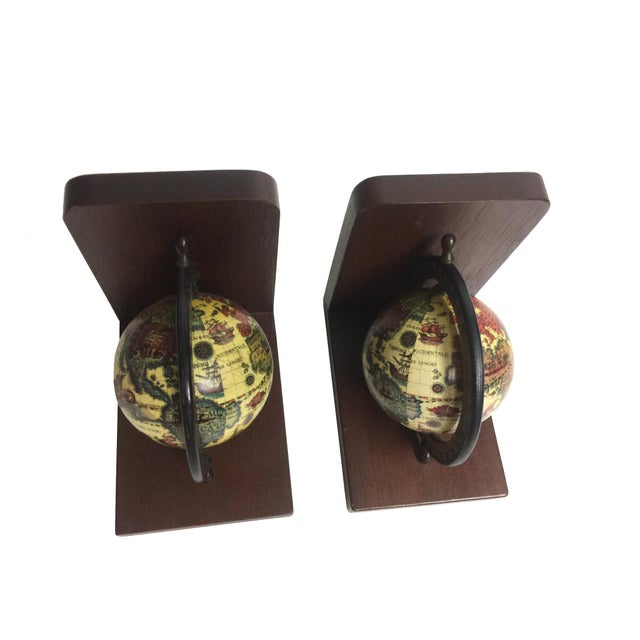 Mid-Century Wooden Old World Globe Bookends - A Pair For Sale - Image 4 of 4