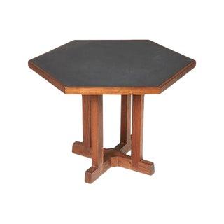 1960s Slate & Walnut Six Sided Table For Sale