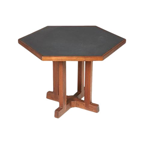 1960s Slate & Walnut Six Sided Table For Sale