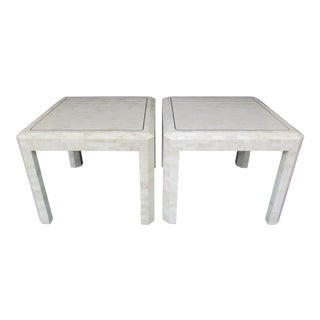 1980s Hollywood Regency Maitland Smith Tessellated Stone and Brass Side Tables - a Pair For Sale