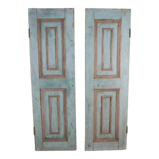 19th Century French Wood Painted Window Shutters- a Pair For Sale