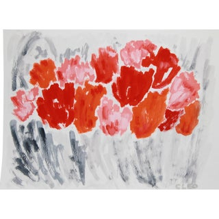 Abstract Contemporary Floral Still Life Painting by Cleo For Sale