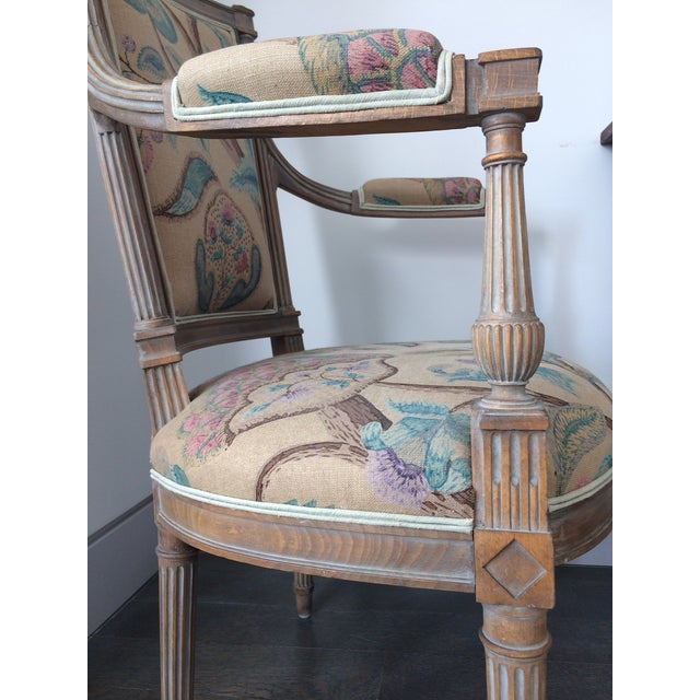 2010s Modern Louis XVI Style Open Arm Chairs- a Pair For Sale - Image 5 of 9