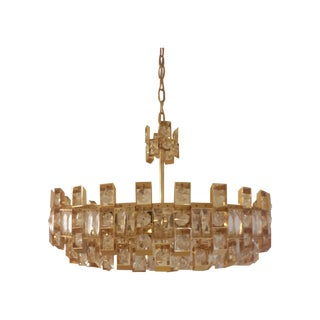 Lightolier Gilded Brass And Crystal Chandelier