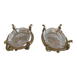 Vintage Hollywood Regency Gold Metal Dishes - A Pair For Sale