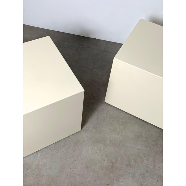 Wood 1970s Modern Lacquered White Cube Side Tables- A Pair For Sale - Image 7 of 11