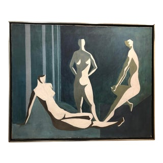 Mid Century Oil on Canvas of Nude Figures For Sale