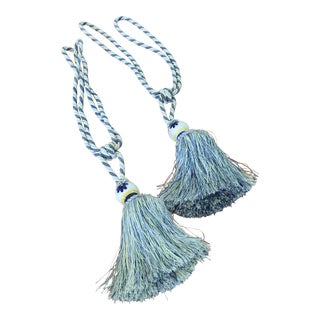 Country French Blue and Yellow Tassel Fringe Tiebacks - a Pair For Sale