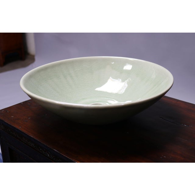 2010s Celedon Porcelain Sink Basin For Sale - Image 5 of 5