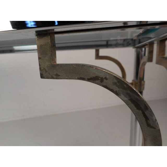 Copper Maison Jansen Style Mid-Century Modern Chrome & Brass Console Table For Sale - Image 8 of 8