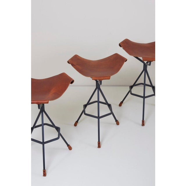 These bar stools are designed by Dan Wenger from the 1970s and are newly manufactured by the artist himself.