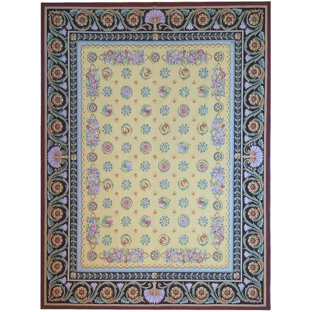 "French Pasargad Aubusson Hand Woven Wool Rug - 9' 0"" X 11'11"" For Sale - Image 3 of 3"
