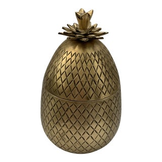 Vintage Mid-Century Mottahedeh Brass Pineapple Box For Sale