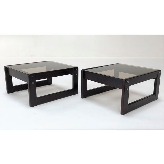 1960s 1960s Mid-Century Modern Percival Laver Rosewood and Glass Side Tables - a Pair For Sale - Image 5 of 13