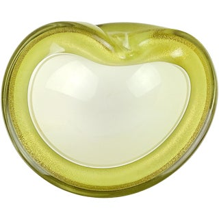 Alfredo Barbini Murano Olive Green Gold Italian Art Glass Decorative Bowl Dish For Sale